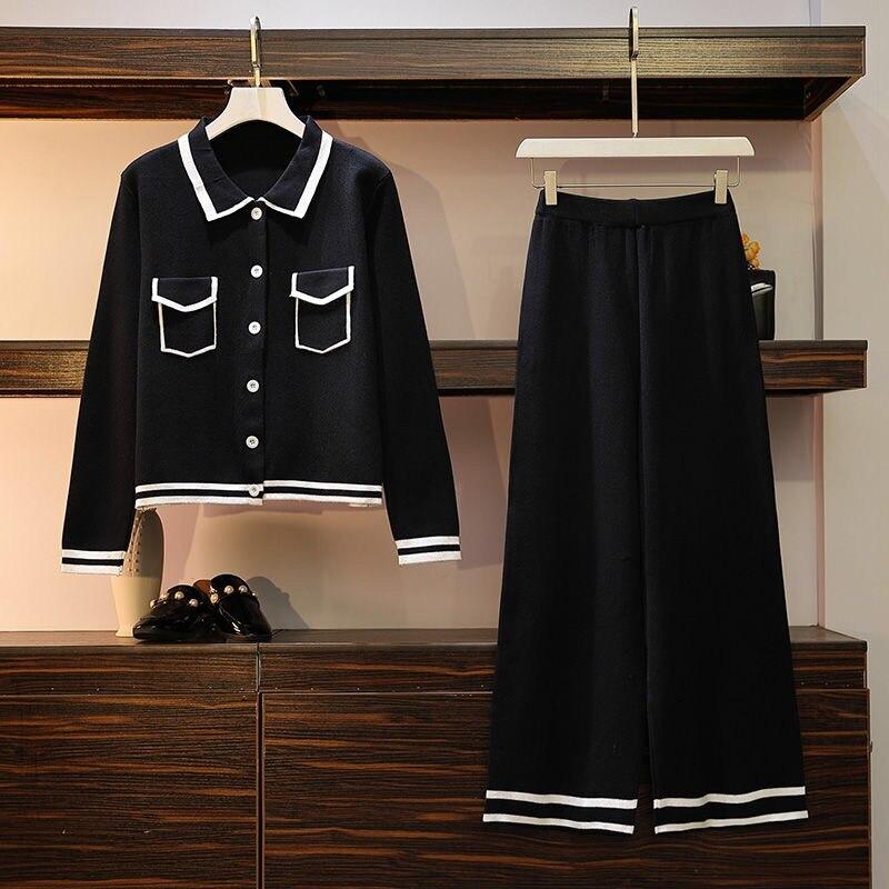 Knit Wide Leg Pants Suit Set For Women