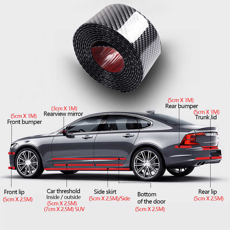 Pegatinas de fibra de carbono con estilo para coche, pegatinas y calcomanías para coche, protector de alféizar de puerta DIY, película de vinilo, tira antiarañazos de cuerpo completo para coche