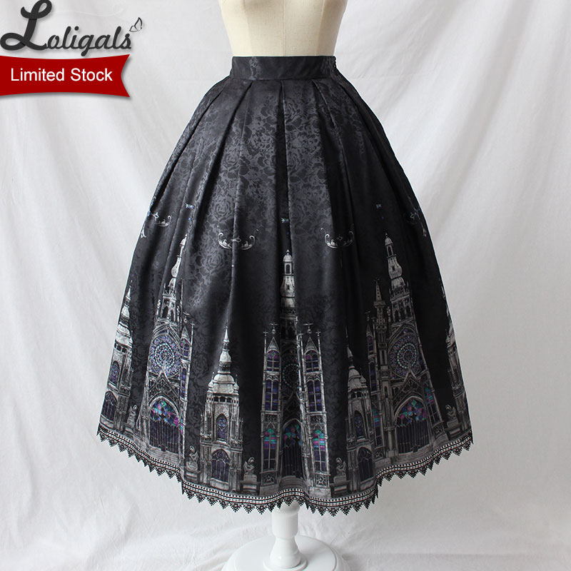 Gothic Women s Midi Skirt Church Printed A line Skirt by Alice Girl Limited Stock