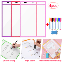 Transparent Dry Erase Pockets Erasable Teaching Practice Drawing Markers Dry Erase Board For Kids Whiteboard Writing Practice