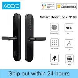 Aqara N100 قفل باب ببصمة الإصبع بلوتوث كلمة السر NFC إفتح يعمل مع Mijia أبل HomeKit الربط الذكية مع جرس الباب