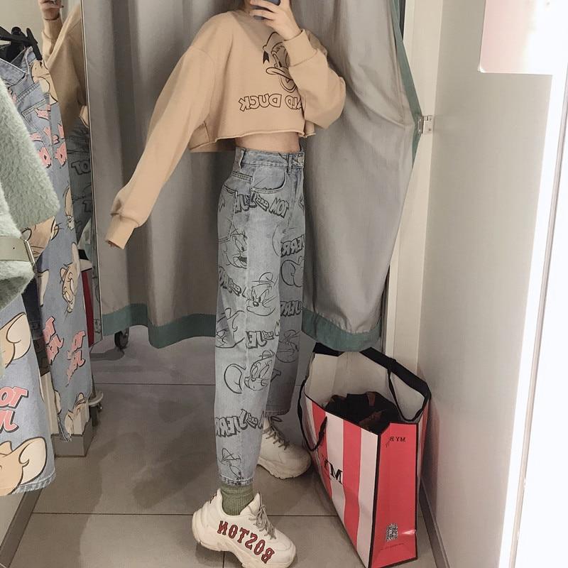Korean Cartoon Print Straight Jeans Women Loose Hight Waist Wide Leg Denim Pants Large Pocket Vintage With Belt Denim Trousers