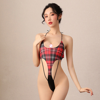 2020 hot Sexy Lingerie Sex Maid Uniform Erotic catsuit Plaid Swimsuit japanese lingerie One-piece Bodysuits Valentine's Day Gift sexy opensuit one piece swimsuit temptation woman erotic lingerie halter dark buckle swimsuit uniform sexy lingerie one piece