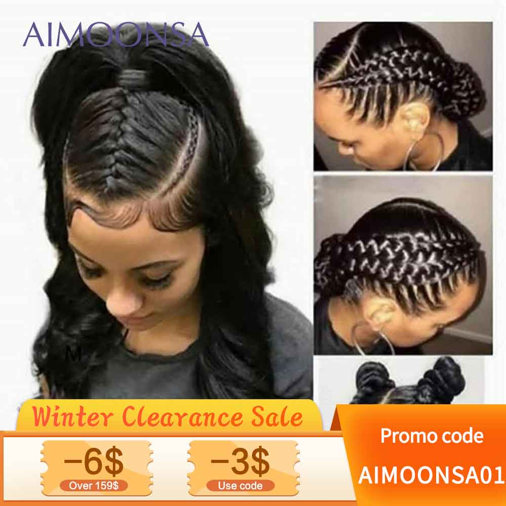 Transparent Full Lace Wigs Human Hair Wigs With Baby Hair Body Wave Wig Natural Hair For Women Black Peruvian Remy Hair Aimoonsa
