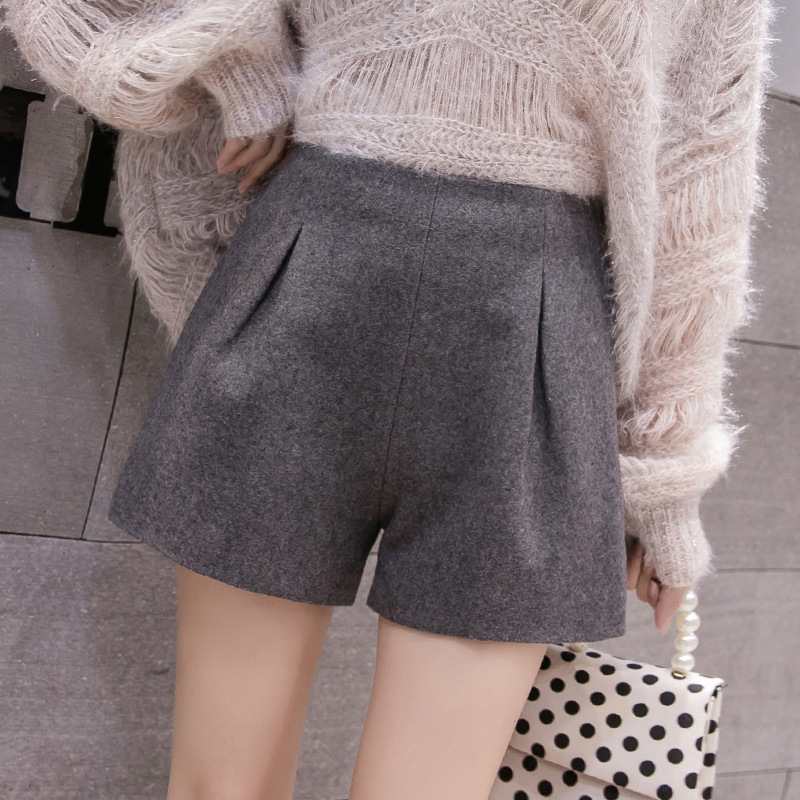 S-2xl High-waist Woolen Shorts Women For Autumn 2019 Slim Warm Thicked Booty Shorts Womens  High Waist Red Short Feminino