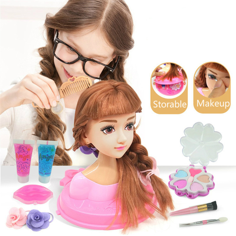 Fashion Stylist Kids Makeup Beauty Toys For Children Half Body Hairstyle Doll Long Hair Head Pretend Play Toys Girls Xmas Gift