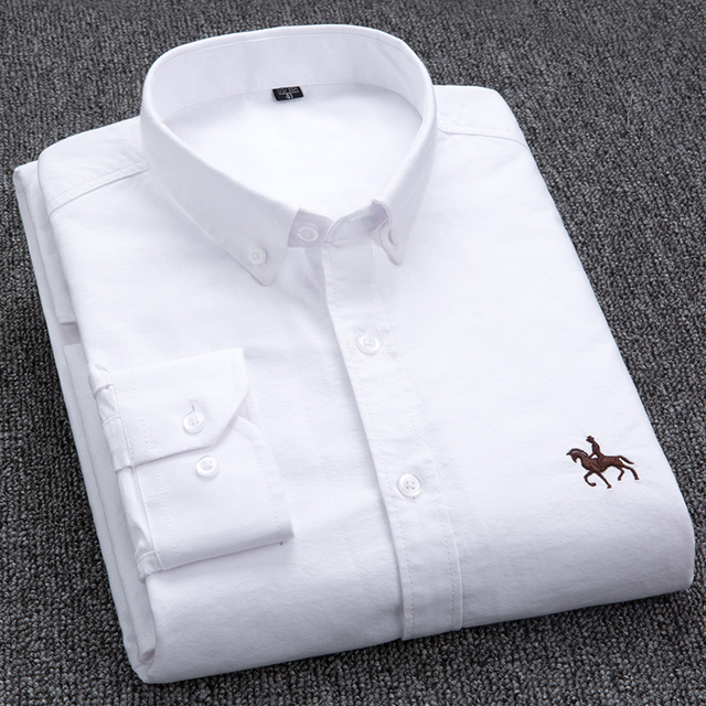 100% Cotton Oxford Shirt Men's Long Sleeve Embroidered Horse Casual Without Pocket Solid Yellow Dress Shirt Men Plus Size 5XL6XL 1