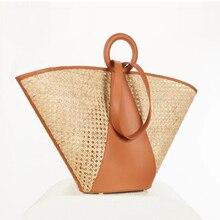 Hollow Straw Handbags Women Splice PU Leather Shoulder Bags Large Capacity Weaving Women's Bag Summer Beach Tote Bags For Woman