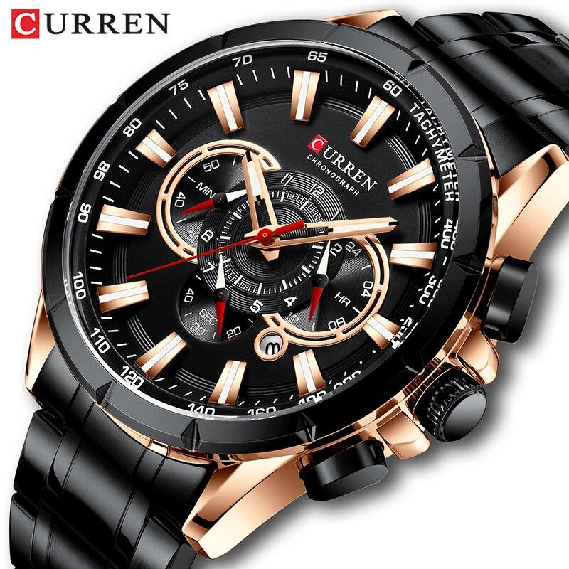 New CURREN Mens Big Sport Watch For Men Fashion Casual Quartz Wristwatch Date Chronograph Male Clock Waterproof Relojes Hombre