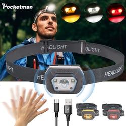 10000 Lumens LED Induction phare plus lumineux capteur de mouvement lampe frontale USB Rechargeable étanche tête lampe de poche lanterne lumière