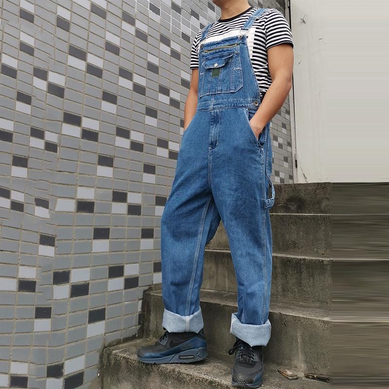 Jeans Men Men's Denim Overalls Men's Overalls Jumpsuit Large Size Strap Straight Pants Blue Jeans More Sizes 30-44 46