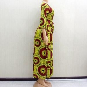 Image 3 - 2020 アフリカ Dashiki エレガントなパーティー V ネック女性春現代女性のドレスフィットとフレア固体ナチュラルウエストドレス