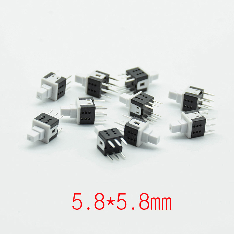 10pcs 5.8*5.8 Self-locking/reset PCB Keyboard Micro Switch Push Tactile Power Self Lock On/Off Latching Switch 6pin Mini 12V0.1A