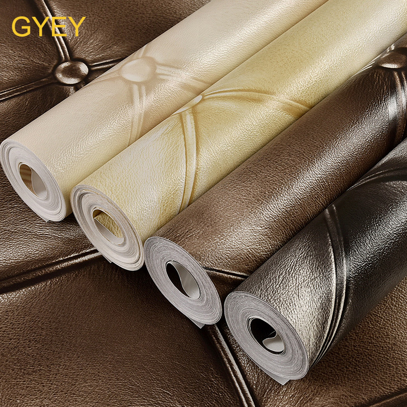 10m European Luxury Simulation Leather 3D Stereo TV Background Wall Paper PVC Bedroom Living Room KTV Soft Package Wallpaper