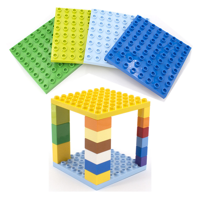 8*8 Dots Big Building Bricks Base Plate Toy Gift Hollow Duplo Blocks Baseplate For Kids Toys 12.8*12.8 Cm Double Sides