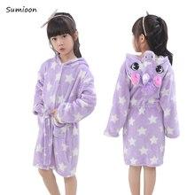 Детский халат с животными для мальчиков и девочек, домашняя одежда, полотенце с капюшоном и единорогом, Пляжная детская одежда для сна, детский банный Халат