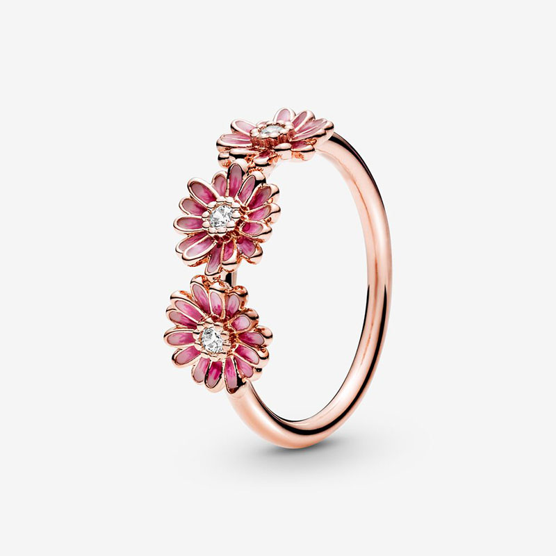 2020 NEW 925 Sterling Silver Sparkling Daisy Flower Crown Rings Flower Petals Band Ring Women Rings Jewelry