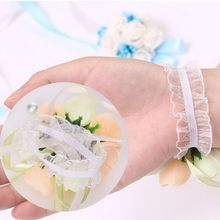 Girls Bridesmaid Wedding Prom Party Wrist Flowers Corsage Bracelet Fabric Hand Flowers with Elastic Wirstband(China)
