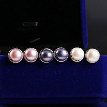 100% Genuine Freshwater Pearl Stud Earrings Jewelry Gifts Pink Black White Real Ear Nail Gift for Women Girlfriend