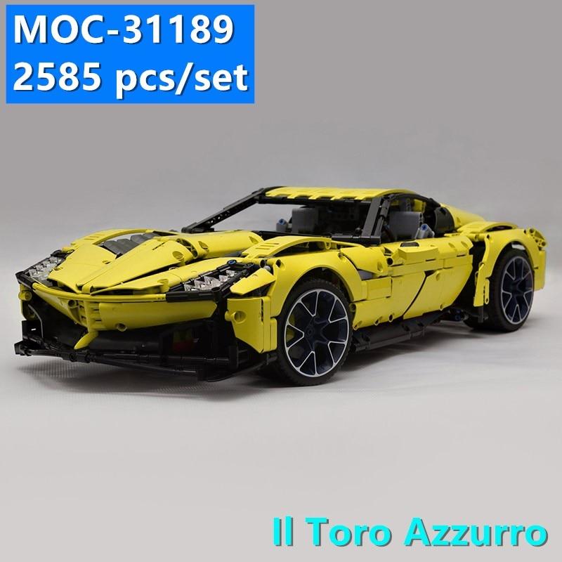 New MOC SERIES Il Toro Azzurro Super Racing Car Fit Lepines Technic MOC-31189 Model Kits Building Blocks Bricks Toy Kid Gift