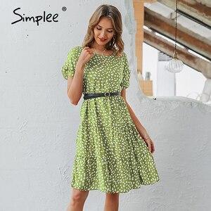Image 4 - Simplee Sexy polka dot kobiety sukienka przyczynowy o neck luźna lamparta druku letnia sukienka na co dzień z krótkim rękawem wzburzyć wakacje plaża sukienka