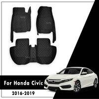 LHD Auto Fußmatten Für Honda CIVIC 10th Limousine 2016 2017 2018 2019 Auto Innen Zubehör Leder Teppiche Dash Wasserdicht teppiche-in Fußmatten aus Kraftfahrzeuge und Motorräder bei