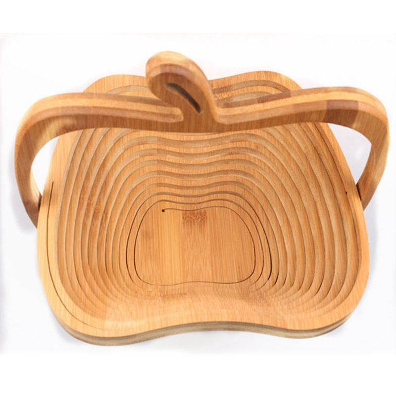 HTHL-Novelty Foldable Apple Shaped Bamboo Basket Foldable Fruit Basket