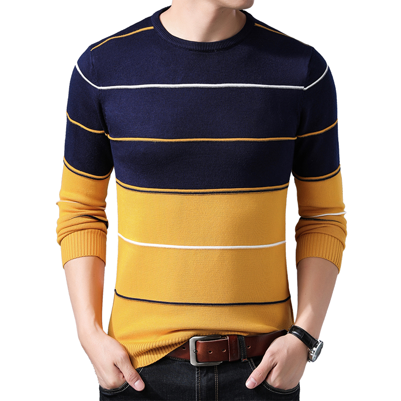 BROWON Brand 2019 Male Stripes Sweater Autumn Winter Sweater Pullovers Men's O-neck Mens Pullover Neck Fashion Sweater Clothing