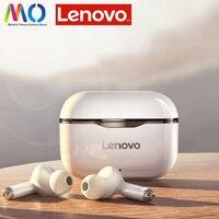 Lenovo-auriculares inalámbricos LP1 con TWS, cascos deportivos impermeables con Bluetooth 5,0, micrófono con cancelación de ruido, estéreo Dual, HIFI, bajos táctiles