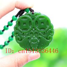 Chinese Green Jade money Bat Pendant Necklace Fashion Accessories Jewelry Carved Amulet Luck Gifts Women Sweater Chain(China)