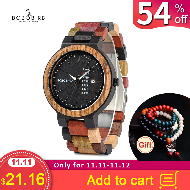 BOBO BIRD Men Watch Luxury Brand Wood Timepieces Week Date Display Quartz Watches Great Gifts Relogio Masculino Drop Shipping