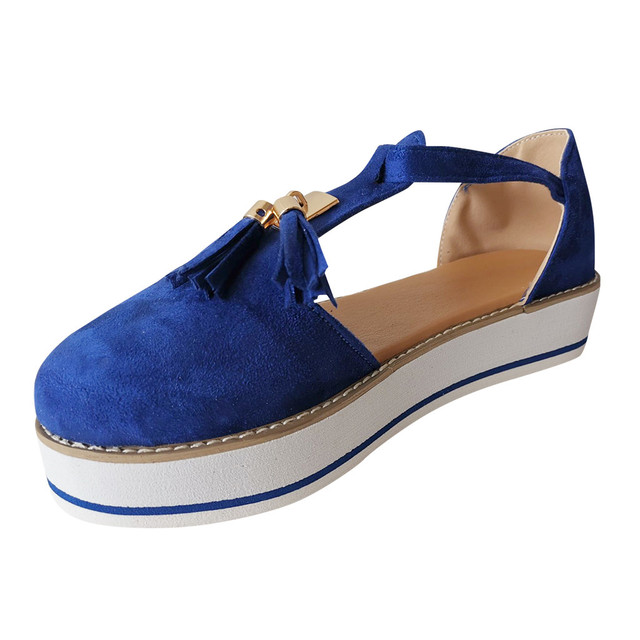 Tassel Round Toe Flat Sandals Thick Bottom Buckle Strap Casual Beach Single Shoes Woman Non-slip Flats Woman Sandal Chaussures 12