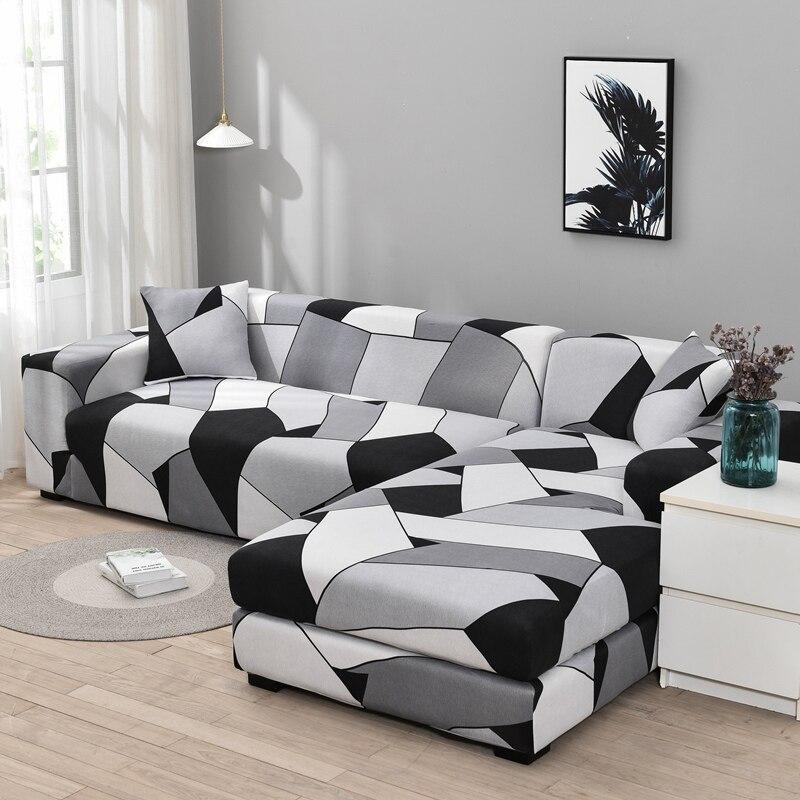 Capa de sofá xadrez elástica trecho secional canto capa de sofá para sala de estar 1/2/3/4 slipcover em forma de l precisa comprar 2 peças