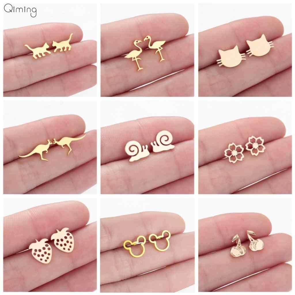 Lovely Cute Children Baby Earrings Kitty Cat Crane Snail Kangaroo Animal Fashion Statement Jewelry Strawberry Women Stud Earring