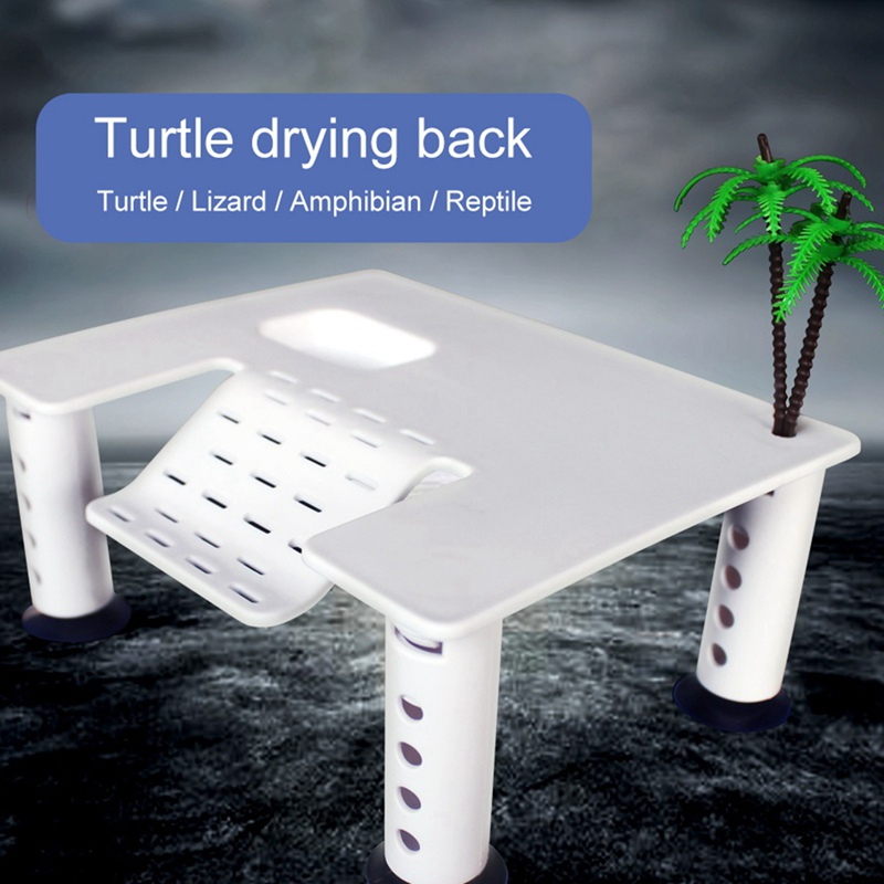 Dropship Turtle Floating Basking Platform With 4 Suction Cups Terrapin Dock Reptile Ramp Pier With Ladder Aquarium Tank