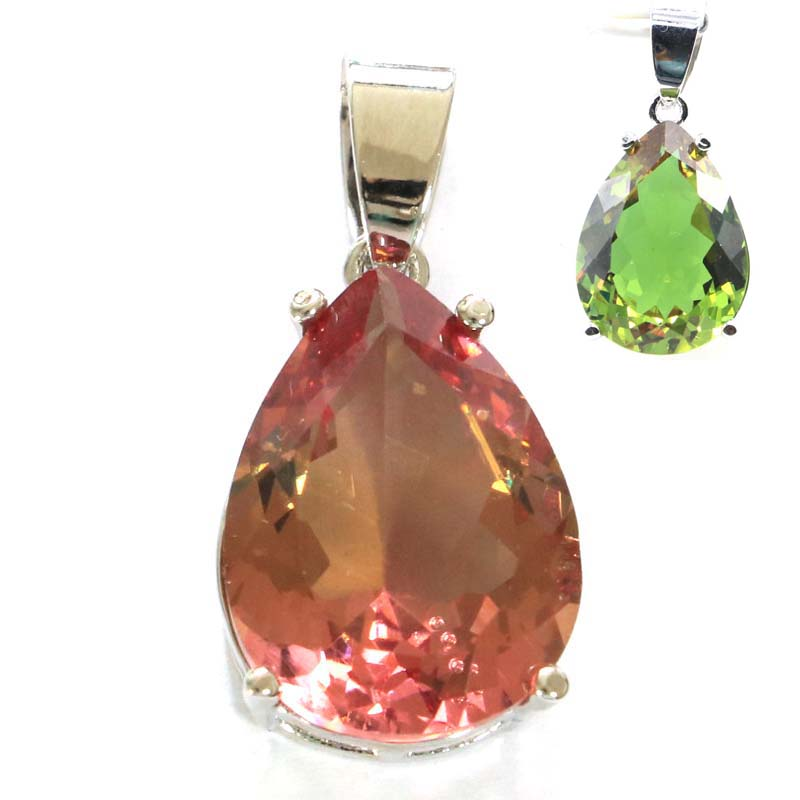 27x13mm SheCrown Water Drop Color Changing Spinel Zultanite Alexandrite & Topaz Gift For Ladies Woman's Girls Silver Pendant