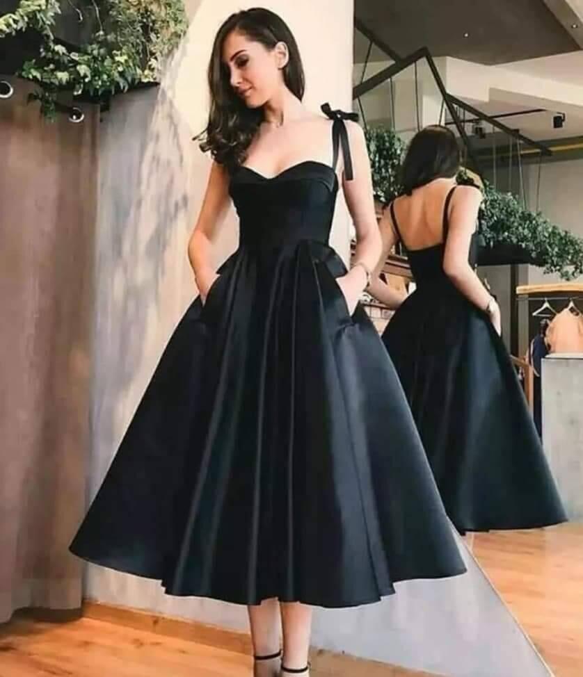 платье на выпускной 2019 Sweetheart Black Prom Dresses Tea Length Pretty Vestido De Gala Party Dress With Pockets
