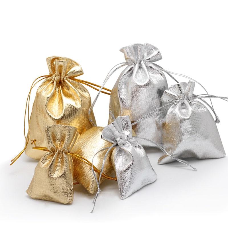 100pcs 5x7 7x9 9x12cm 11x16cm Drawstring Gift Bags Metallic Foil Organza Pouches Christmas Wedding Party Favour Gifts Candy Bags