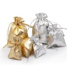 100pcs 5x7 7x9 9x12cm 11x16cm Drawstring Gift Bags Metallic Foil Organza Pouches Christmas Wedding Party Favour Gifts Candy