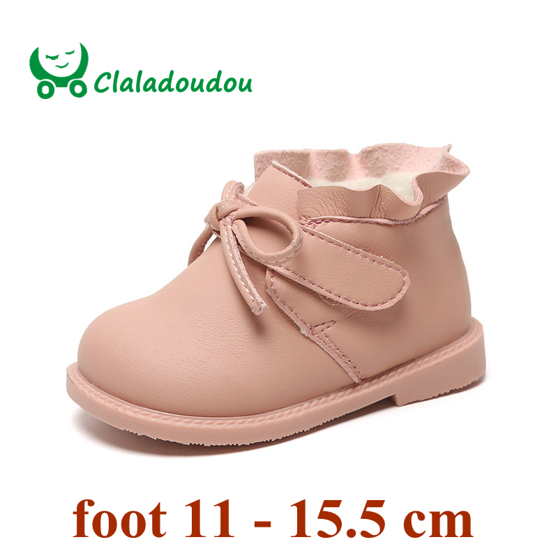 Claladoudou 12-16cm Brand Early Winter Baby Boots With Velvet Inner Cute Bowtie Princess Baby Girls First Birthday Party Shoes