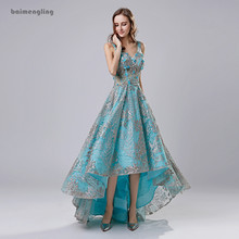 цена на blue evening dress, A-line evening dress, high low evening dress, v-neck evening dresss