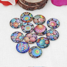 10pcs Glass Cameo Cabochon Colorful Pattern 8/10/12/ 20/25mm Round Cabochon Settings for Diy Jewelry Making Accessories Findings 12mm mixed style colorful round glass cabochon dome jewelry finding cameo pendant settings 50pcs lot k05139