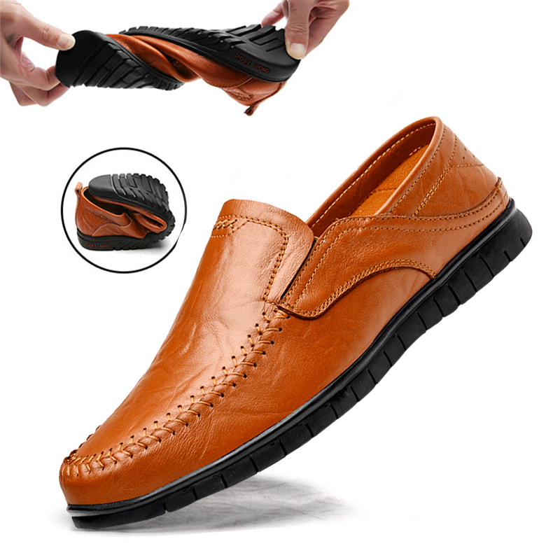 DEKABR Genuine Leather Men Casual Shoes Luxury Brand 2019 Mens Loafers Moccasins Breathable Slip On Driving Shoes Plus Size 45