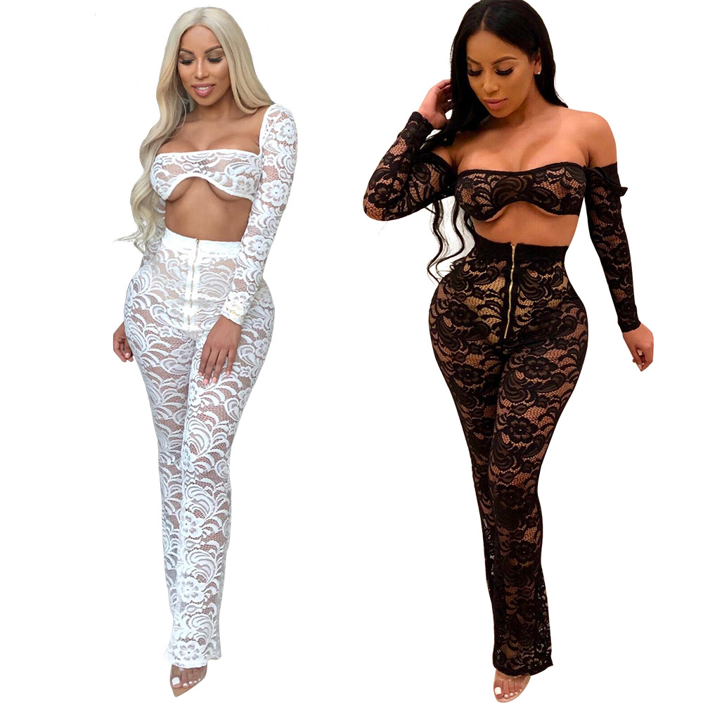 Women's Fashion Sexy Long-sleeved Lace Top And Lace Trousers Set