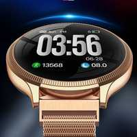 MK08 Reloj Inteligente de lujo para hombre pulsera de Metal de Color redondo de pantalla de Frecuencia Cardíaca de control de presión arterial Reloj deportivo