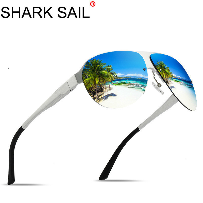 SHARK SAIL Design New Aluminum Men Brand Sunglasses HD Polarized Men's Sun Glasses Integrated Lens Eyewear Goggle Gafas De Sol