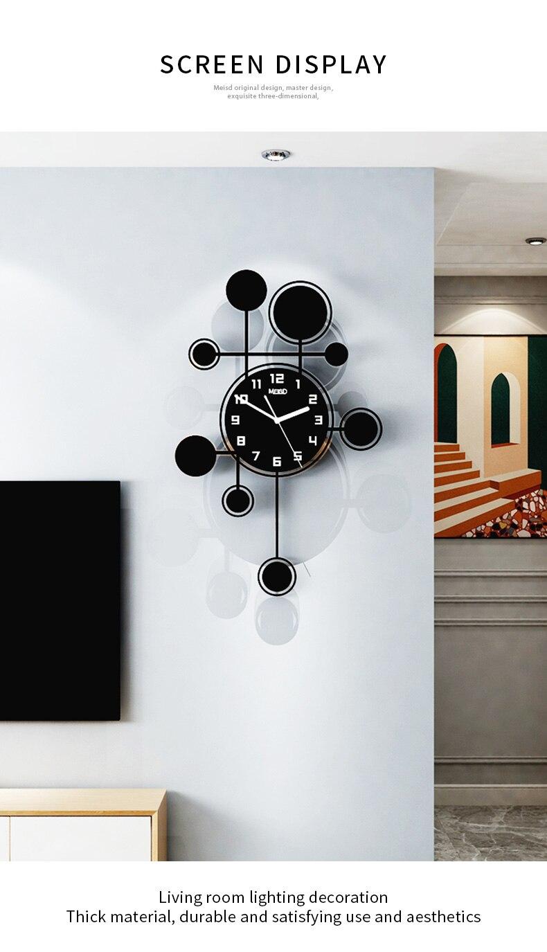 Nove círculos silencioso acrílico swingable decorativo relógio