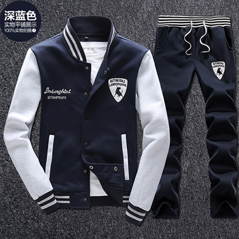 Spring And Autumn MEN'S Suit Korean-style Fashion Slim Fit Baseball Uniform Coat Teenager Sports Set