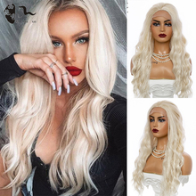 XISHIXIUHAIR Lace Front Wigs Long Wave Synthetic Wigs for Black Women 150% Density White Wave Wig Heat Resistant Fiber Hair Wigs