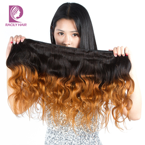 Image 4 - 1/3/4Pcs Ombre Bundles 1B/30 Remy Body Wave Bundles Brazilian Hair Weave Bundles Colored Brown Human Hair Extensions Racily Hair